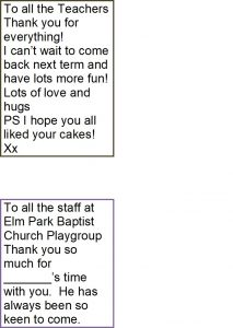 Elm Park Baptist Church Playgroup parents comments